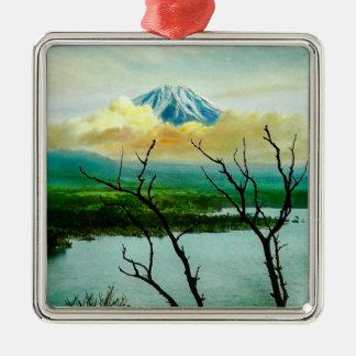 Mt. Fuji 富士山 Through the Pines Vintage Japanese Metal Ornament