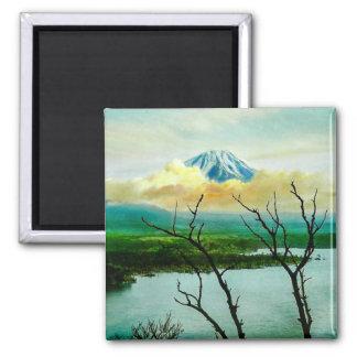 Mt. Fuji 富士山 Through the Pines Vintage Japanese Square Magnet