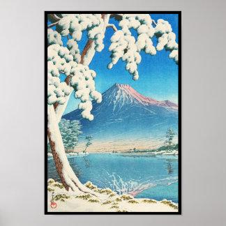 Mt. Fuji After Snow Hasui Kawase shin hanga scene Poster
