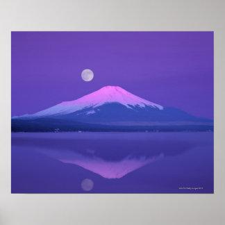 Mt. Fuji Below Moon Poster