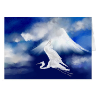 Mt. Fuji & Flying Egret Greeting Card