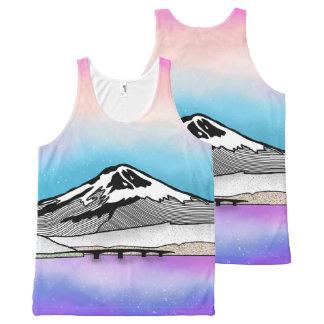 Mt Fuji Japan Landscape illustration All-Over-Print Tank Top