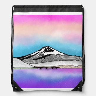 Mt Fuji Japan Landscape illustration Drawstring Bag