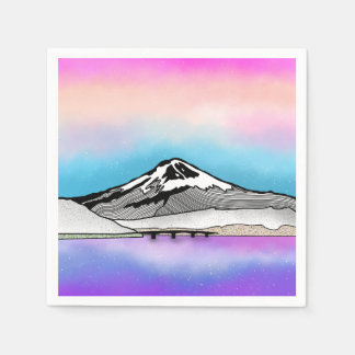 Mt Fuji Japan Landscape illustration Napkin