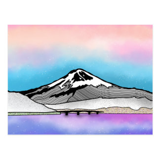 Mt Fuji Japan Landscape illustration Postcard