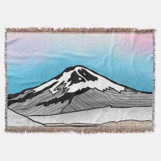 Mt Fuji Japan Landscape illustration Throw Blanket