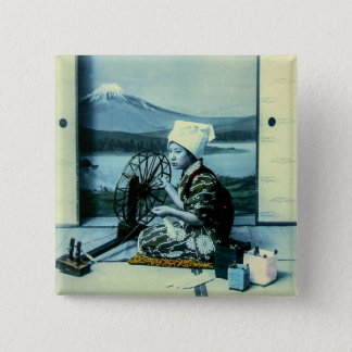 Mt. Fuji on a Silk Screen Behind Spinning Geisha 2 Inch Square Button