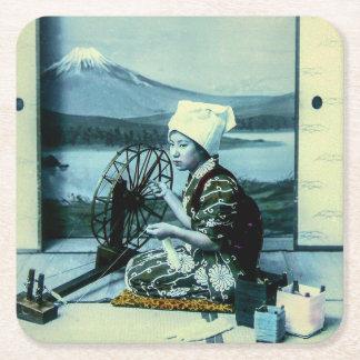 Mt. Fuji on a Silk Screen Behind Spinning Geisha Square Paper Coaster