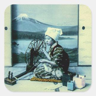 Mt. Fuji on a Silk Screen Behind Spinning Geisha Square Sticker