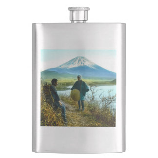 Mt. Fuji Pilgrims Resting by Roadside Vintage Flasks