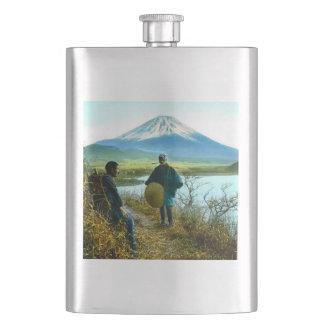 Mt. Fuji Pilgrims Resting by Roadside Vintage Hip Flask