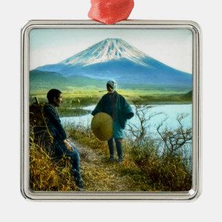 Mt. Fuji Pilgrims Resting by Roadside Vintage Metal Ornament