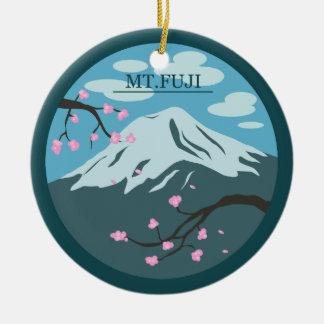 Mt. Fuji Round Ceramic Ornament