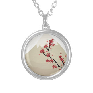 Mt Fuji Silver Plated Necklace