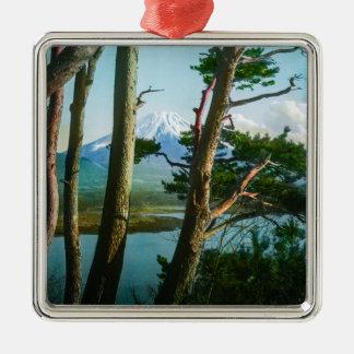 Mt. Fuji Through the Morning Woods Vintage Japan Metal Ornament