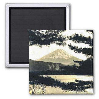Mt. Fuji Through the Pines Vintage 富士山  Japanese Square Magnet