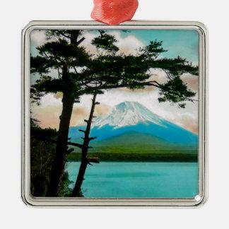 Mt. Fuji Through the Pines Vintage Japanese  富士山 Metal Ornament