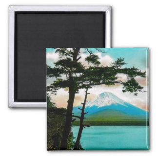 Mt. Fuji Through the Pines Vintage Japanese  富士山 Square Magnet