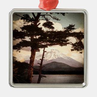 Mt. Fuji Through the Pines Vintage Old Japan Metal Ornament