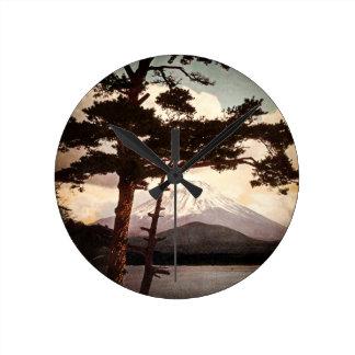 Mt. Fuji Through the Pines Vintage Old Japan Round Clock