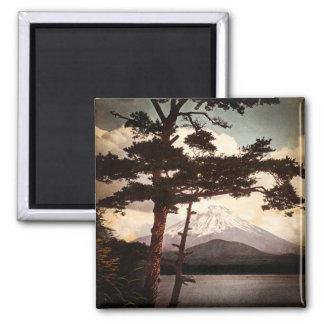 Mt. Fuji Through the Pines Vintage Old Japan Square Magnet