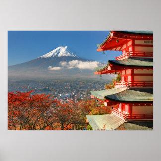 Mt. Fuji viewed from behind Chureito Pagoda Poster