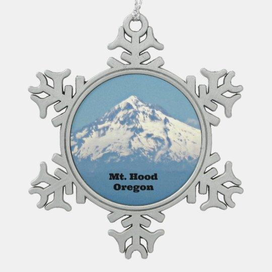 Mt. Hood, Oregon Pewter Snowflake Ornament