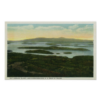 Mt. Major Aerial View of Rattlesnake Island, Poster