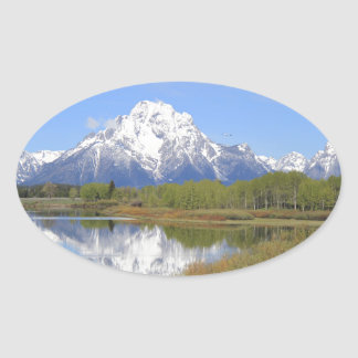 Mt. Moran Grand Teton National Park Oval Sticker
