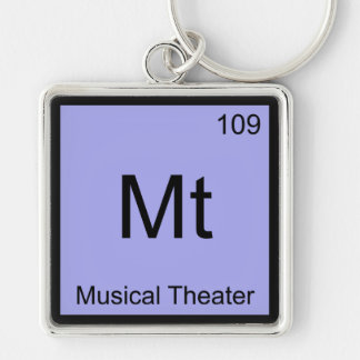 Mt - Musical Theater Chemistry Element Symbol Tee Silver-Colored Square Keychain