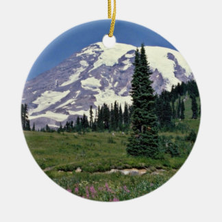Mt. Rainer, Washington Red flowers Ceramic Ornament
