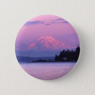Mt. Rainier at Sunset, Washington State. 2 Inch Round Button