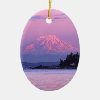 Mt. Rainier at Sunset, Washington State. Ceramic Ornament