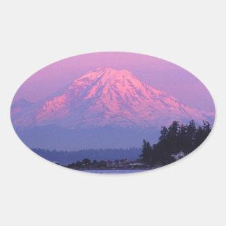 Mt. Rainier at Sunset, Washington State. Oval Sticker