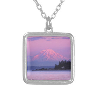 Mt. Rainier at Sunset, Washington State. Silver Plated Necklace