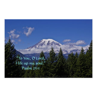 Mt. Rainier in fog w/Scripture Verse Poster