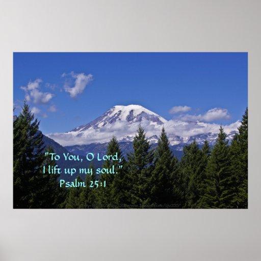 Mt. Rainier in fog w/Scripture Verse Poster