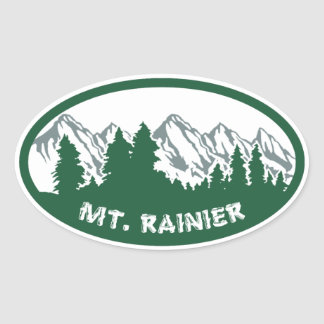 Mt Rainier Panorama Oval Oval Sticker