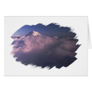 Mt Rainier Pokes Out From Clouds Airieal View Note Card