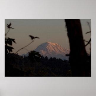 Mt. Rainier Sunset, Tacoma, WA Poster