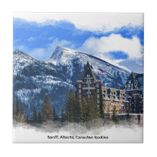 Mt Rundle and Famous Hotel, Banff, Alta, Canada Tile