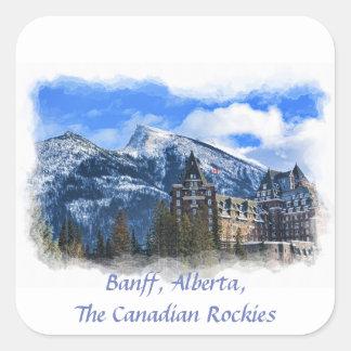 Mt Rundle and Hotel, Banff, Alta, Canada Square Sticker