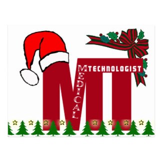 MT SANTA - CHRISTMAS MEDICAL TECHNOLOGIST - LAB POSTCARD