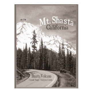 Mt Shasta Volcano Siskiyou Cascade mountain range. Postcard