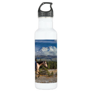 MT SHASTA WITH HORSE AND RIDER 710 ML WATER BOTTLE