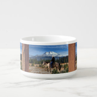 MT SHASTA WITH HORSE AND RIDER BOWL