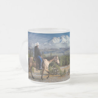 MT SHASTA WITH HORSE AND RIDER FROSTED GLASS COFFEE MUG
