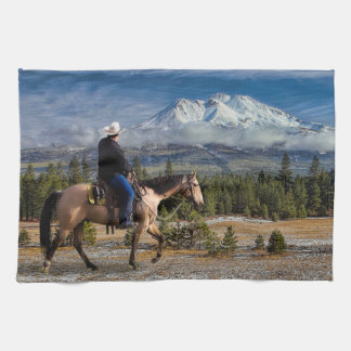 MT SHASTA WITH HORSE AND RIDER KITCHEN TOWEL
