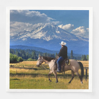 MT SHASTA WITH HORSE AND RIDER PAPER NAPKINS