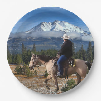 MT SHASTA WITH HORSE AND RIDER PAPER PLATE